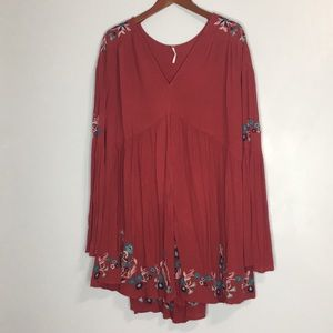 Free People NWOT embroidered tiered dress sz L